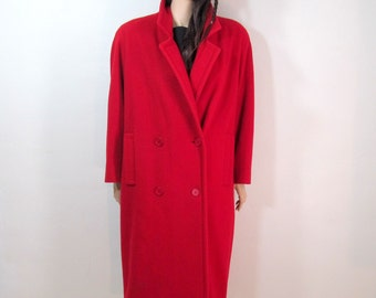 Vintage 80's Coat Large 80's Red Wool Coat 80's Jacket Large Red Coat Minimalist Jacket Large Long Coat Double Breasted Structured Coat H