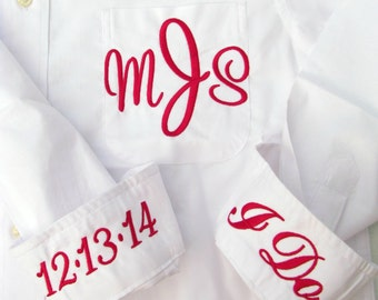 Brides Shirt for Wedding day  - Monogrammed Button Down Shirt