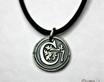 Men's Personalized Necklace Unisex Letter Charm Man Jewelry Custom Gift  Gift  Monogram Wax Seal Pendant  Personalized Gift