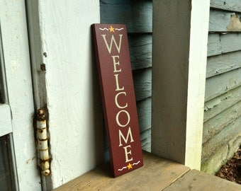 Welcome, wood sign