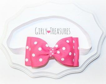 Hot Pink Minnie Mouse Bow Headband. Polka Dots Headband. Baby Headband. Infant Headband. Girl Headband. Photo Prop.