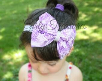 Lavender Bow Flower Headband. Newborn Headband. Girl Headband. Baby Headband. Infant headband. Photo Prop.