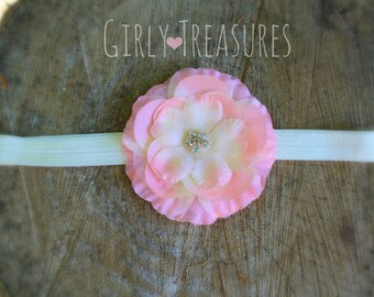 Pink & Ivory Flower Headband. Baby Headband. Newborn Headband. Girl Headband. Infant Headband. Photo Prop.