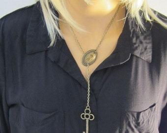 Lariat Key Necklace Keyhole Skeleton Key Pendant Jewelry