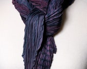 SALE • Use 40% Off Coupon: HOLIDAY40 • Pleated Silk Square Scarf Purple and Navy Shibori Arashi Scarf