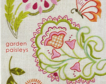 Heather Bailey Embroidery Pattern - Re-usable Iron On Embroidery Pattern - Garden Paisleys