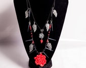 Autumn Thorn Spined Gothic Rose tiered necklace- Macabre Collection