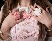Marshmallow Rose Pastel and Cream pendant necklace- Lolita Collection