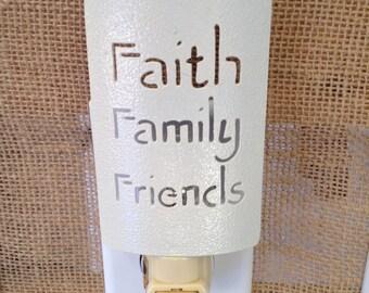 Night Light Faith Family Friends Nite Light Metal Cream