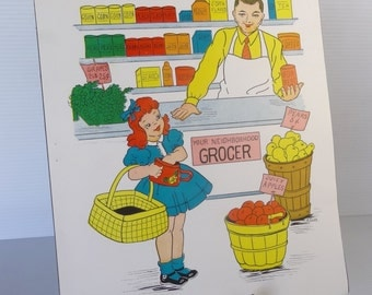 Vintage 1958 Grocer School Poster - Educational Classroom Community Helpers Series - Hayes School Publishing Co., USA