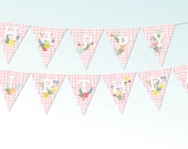 BIRTHDAY BUNTING  BANNER, Diy Yellow Gingham Spring Flowers, Digital, Party Decoration, Happy Birthday, Printable, Floral, Large