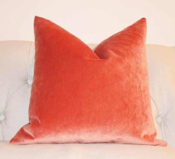 Orange Pillow Orange Velvet Pillow Cover Tangelo Solid