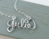 Personalized Teen Name Necklace/ Name Necklace in Sterling Silver/ Bridesmaid Gift/ Personalized Wire Jewelry/ Word Necklace/ Valentine's