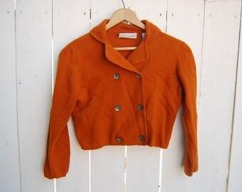 Knit Motorcycle Cropped Burnt Orange Short Sweater Peacoat Jacket Coat