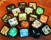 HALLOWEEN Fright Bites Wafer Papers for Cookies - Spooky Edible Images: Dracula, Mummy, Cat, Bat, Witch, etc.