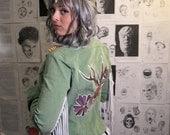 Green Corduroy// Fringe Rocker Jacket// Freehand Painted Jackalope Patch// Washable Modified Jacket