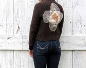 Brown womens Cardigan , size S M Abercrombie recycled Sweater , upcycled bolero cream linen flourish , altered clothes by wearlovenow