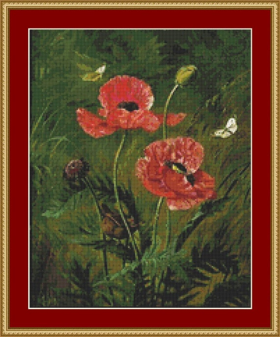 Still Life Of Poppies Cross Stitch Pattern /Digital PDF Files /Instant downloadable