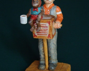 Woodcarving, Organ Grinder, Old time musician.  Wood carving by Dennis Millner, Collectable Wood Carving Gift, Gift for Him