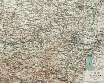 1897 Antique map of AUSTRIA. Vienna. 120 years old chart.
