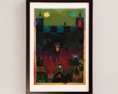 Princes in the Tower / Mixed Media Collage Art / Tower of London Print / Red Wall Art