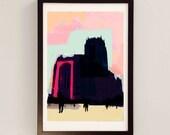 Liverpool Print  - Liverpool Landmarks Wall Art / Giles Gilbert Scott Architecture Artwork / Pink Wall Art