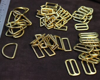 Solid brass hardware to make dog martingale collar - slide, rectangle, dee ring