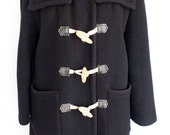 Vintage 60s / 70s Sno Lover navy wool duffle coat, made in Italy, rope / wood toggles, extra warm, classic mod / prep M / L