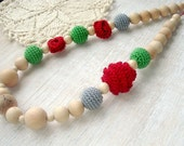 Mama Nursing necklace Teething necklace  Red green Rose Oscha Roses wrap Sling Accessory