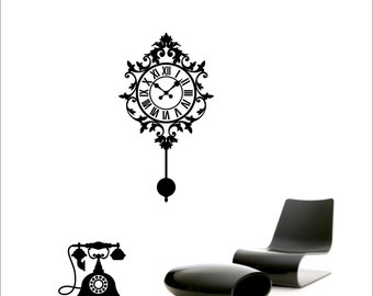 Antique wall clock and telephone vinyl wall decal / sticker / mural removable wall decor