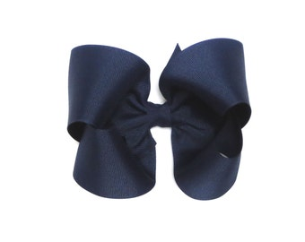 Navy Blue Hair Bow, Hair Bows for Girls,  Hair Bows, Toddler Hair Bows, Extra Large Hair Bows, 5 Inch Hair Bow, Hairbows, Big Hair Bows, 500