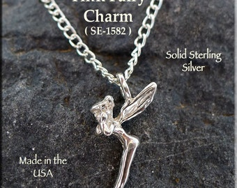 Sterling Silver Tinkerbell Necklace, Sterling Fairy Jewelry, .925 Silver Tinkerbell Fairy Necklace, Fairy Charm Necklace - SE-1582