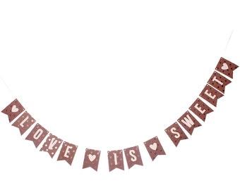 Love Is Sweet Banner - Wedding Banner - Dessert Table - Dessert Banner - Custom Text Banner - Gold Polka Dot Banner - Custom Gold Banner