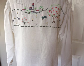 Vintage 60s White Linen Peasant Blouse with Long Sleeves and Country Cross Stitching from Germany