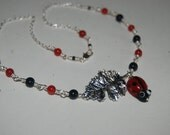 Artistic Wire Wrap Lad Bug With Silver Leaf  Little Girl Pretty Necklace