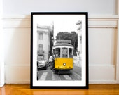 Portugal Travel Photography Home Decor Yellow Cable Car Lisbon, Geometric, Wall Art, Monochrome, Living Room Art, Tram Print