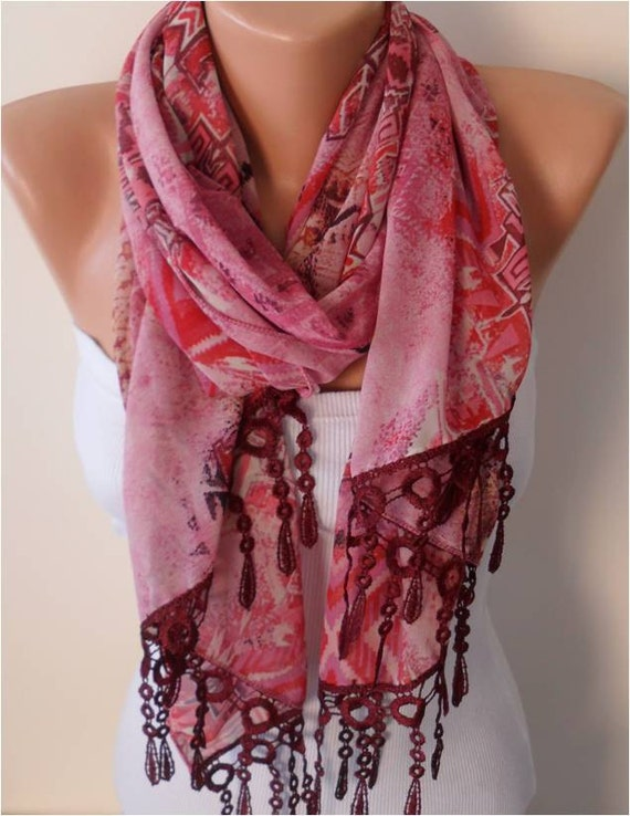Chiffon Floral Scarf with Lace Edge - Gift - Rectangular Scarf
