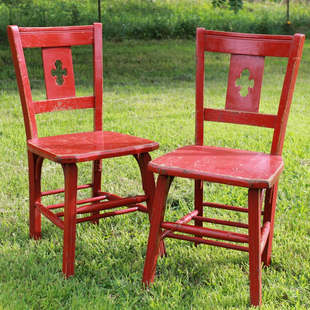 vintage wooden student or kitchen chairs by sundayzchild