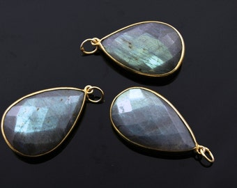 Natural Labradorite Pendant in Gold Vermeil,.30x44mm Incredible Blue Fire to Illminate Your Style., 1 Piece (LABZC-MIX)