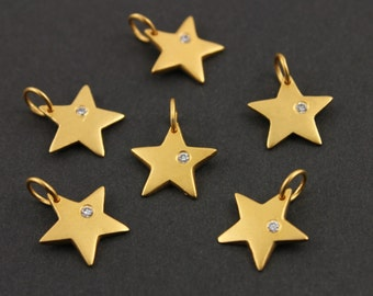 24K Gold Vermeil Over Sterling Silver, Thick Flat Five Point Star Charm w/ White Sapphire w/ Open Jump Ring,  (VM/CH5/CR30)
