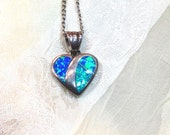 RESERVED FOR BOB - Order Upgrade - Vintage Opal Heart Necklace Inlaid Sterling Silver Estate Jewelry From NorthCoastCottage Jewelry Design