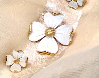 Vintage Dogwood Brooch & Earrings Trifari Crown midcentury estate jewelry from NorthCoastCottage Jewelry Design and Vintage