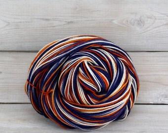 Celeste - Hand Dyed Superwash Merino Fingering Sock Yarn - Colorway: Denver Broncos
