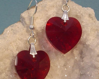 Beautiful deep Siam Red Faceted Swaroski Crystal Heart Earrngs - E012