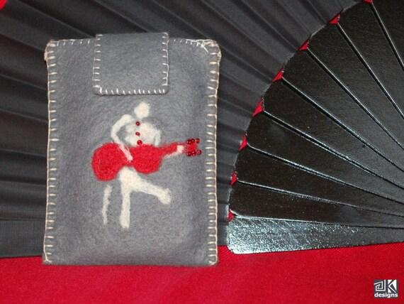Flamenco gift, Cell phone sleeve, Guitar player gift, Mobile phone case, Grey phone sleeve, Grey Gadget cozy, Flamenco guitar