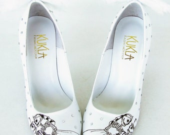 Wedding Shoes - Handpainted Customized -Angels and Skeletons