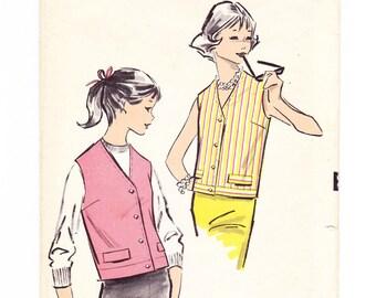 Teen Vest, Vest Sewing Pattern, Advance 8929, 1950s Teen Sewing Pattern, Bust 34