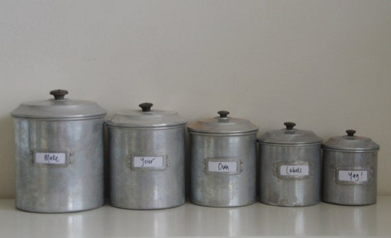 Items similar to SOLD Kitchen canister set (5) rustic aluminium ...