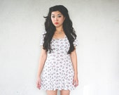 Vintage 90's White Floral BABYDOLL Skater Mini Dress +++ M