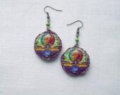 Hunab Ku round dangle earrings - tribal jewelry - psy fashion - maya - ukrteam rusteam - winter trends